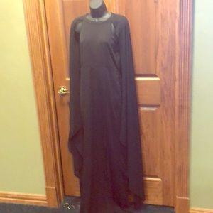 Black Sleeveless Dress with flower my sleeves.